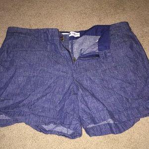 Linen denim shorts